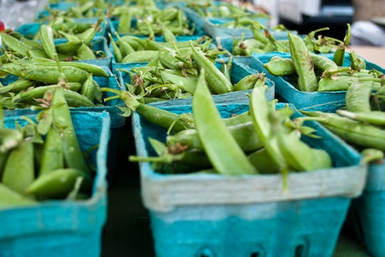 Early snap peas were spotted at Asheville City Market-Winter. Photo by Emma Scudder.