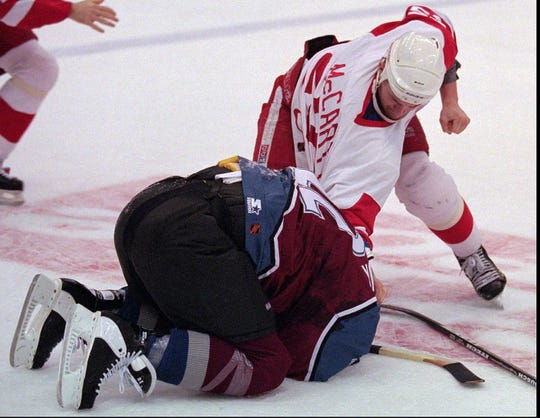 "March 26, 1997: The ""Brawl in Hockeytown"" featuring the infamous duel between Darren McCarty and Claude Lemieux."