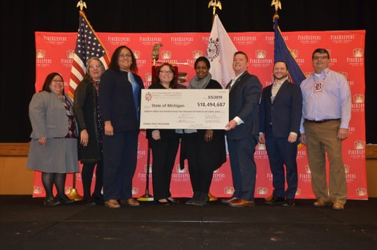 On Tuesday, March 5, 2019, at the FireKeepers event center, the Nottawaseppi Huron Band of the Potawatomi, which owns FireKeepers Casino Hotel, gave a check for $18,494,687 to the state of Michigan.