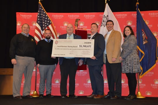 On Tuesday, March 5, 2019, at the FireKeepers event center, the Nottawaseppi Huron Band of the Potawatomi, which owns FireKeepers Casino Hotel, gave a check for $5,748,672 to the Local Revenue Sharing Board.