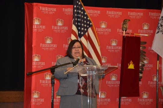 FireKeepers Casino Hotel CEO Kathy George speaks to a crowd on Tuesday, March 5, 2019, before presenting revenue-sharing checks to the FireKeepers Local Revenue Sharing Board and the state of Michigan.