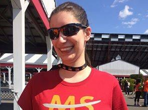 """Julia at a Multiple Sclerosis walk. Julia's mom said her daughter bought the shirt she was wearing """"because it spoke to her."""""""