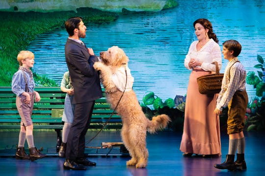 "From left: Josiah Smothers (Jack/Michael), Jeff Sullivan (J.M. Barrie), Ruby Gibbs (Sylvia Llewelyn Davies) and Paul Schoeller (George/Peter/Jack) star in the tour of ""Finding Neverland."""