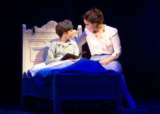 "Seth Erdley (George/Peter/Jack) and Ruby Gibbs (Sylvia Llewelyn Davies) perform in ""Finding Neverland."""