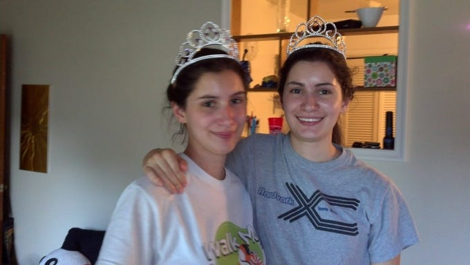 Julia and her twin sister, Ariella, on their 18th birthday.