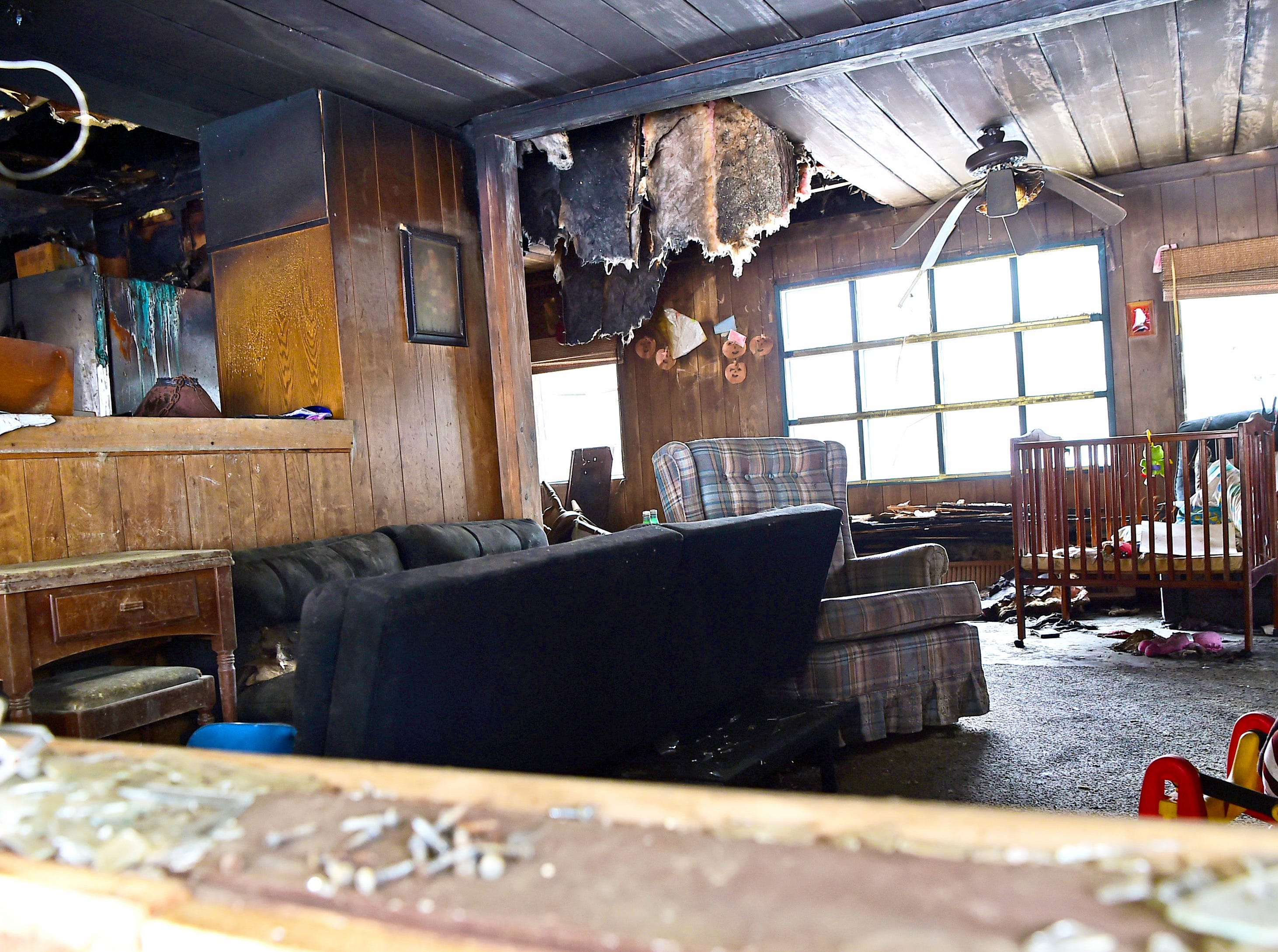 The interior of the former Card family home on Swan Road in Whitney Point. The house was destroyed by fire in 2017.  March 5, 2019.