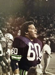 Dan Smith on the sideline for the Seattle Seahawks first preseason game at the Kingdome, on Aug. 1,1976, against San Francisco. Coach Jack Patera is in the background.