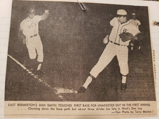 A clipping from the Bremerton Sun features Dan Smith playing for East High in the 1971 East-West game.
