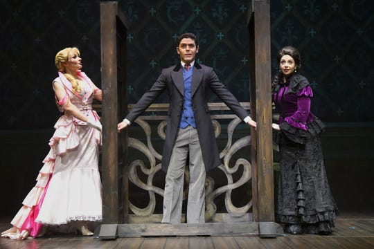 """Caroline Brown as Sibella, Angel Santiago as Monty, and Cathy Moubray as Phoebe.The 2014 Tony Award winning """"A Gentleman's Guide to Love & Murder"""", a musical comedy will be performed at the Historic Cocoa Village Playhouse March 8-24."""