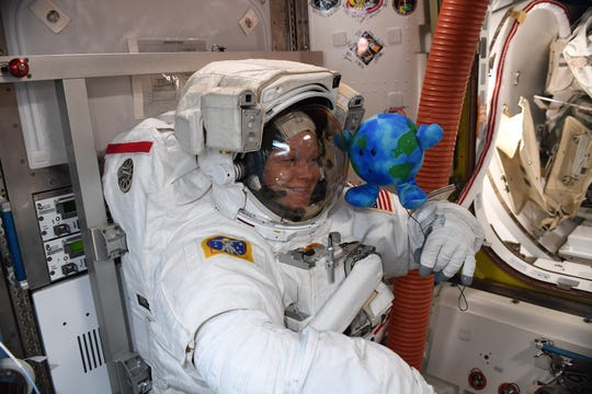 Celestial Buddies Earth plush toy does translation adaptions with NASA astronaut Anne McClain on its first day aboard the International Space Station.