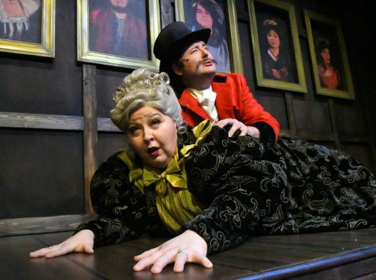 """Jennifer Johnson and James Spiva as Lady Eugenia and Lord Adalbert D' Ysquith. The 2014 Tony Award winning """"A Gentleman's Guide to Love & Murder"""", a musical comedy will be performed at the Historic Cocoa Village Playhouse March 8-24."""