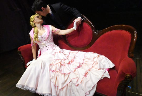 """Caroline Brown as Sibella and Angel Santiago as Monty. The 2014 Tony Award winning """"A Gentleman's Guide to Love & Murder"""", a musical comedy will be performed at the Historic Cocoa Village Playhouse March 8-24."""