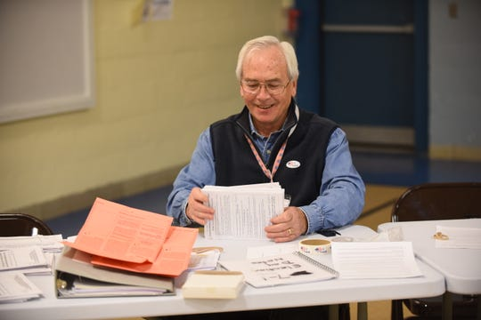 Maurice Mahoney, a member of the South Burlington Board of Civil Authority, sorts mailed in ballots on Town Meeting Day, Tuesday, March 5, 2019, at Orchard School in South Burlington.