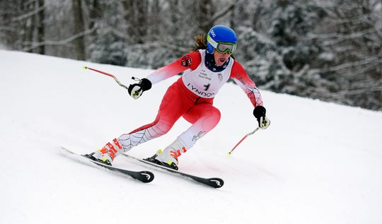 CVU's Olivia Zubarik competes in the Vermont girls' giant slalom championship at Burke Mountain on Monday, March 4, 2019.