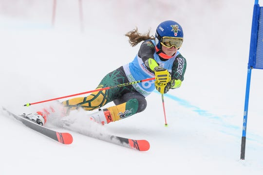 Laurence St. Germain is seen in action for the University of Vermont ski team. The seniorhas been splitting her time racing the college and World Cup circuits this winter.