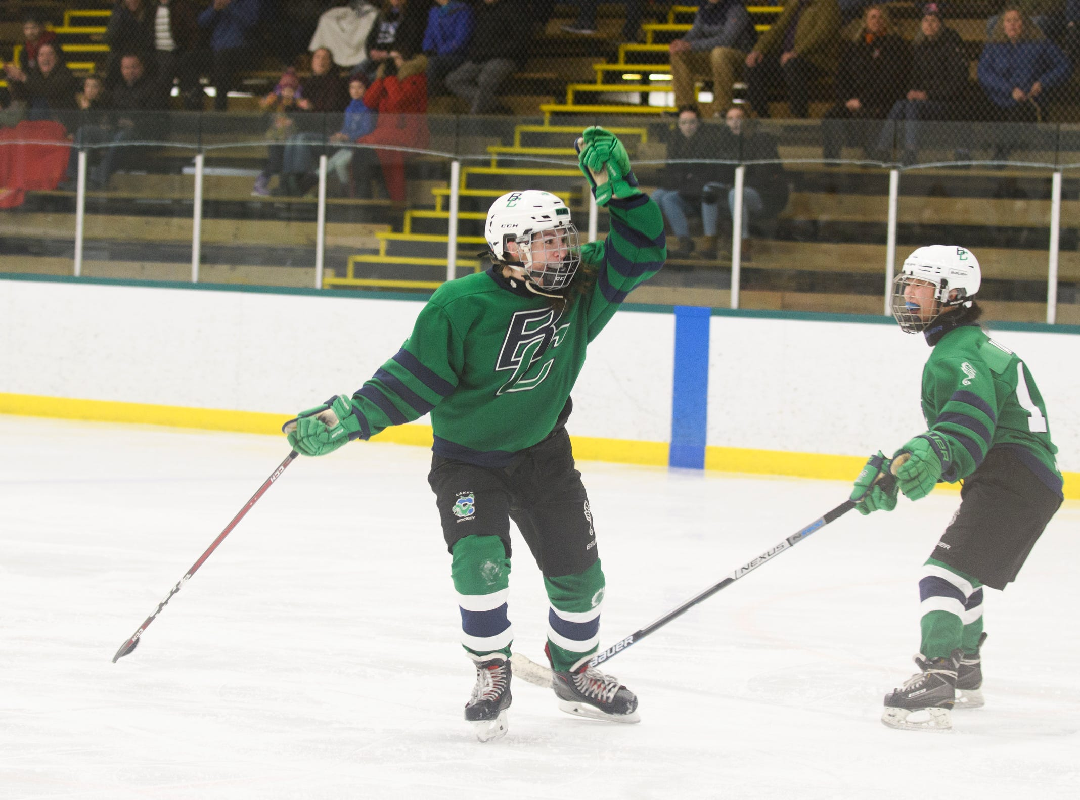 Burlington/Colchester celebrates a goal during the girls hockey game between the Rutland Raiders and the Burlington/Colchester Sea Lakers at the Gordon Paquette Arena at Leddy Park on Tuesday afternoon March 5, 2019 in Burlington, Vermont.