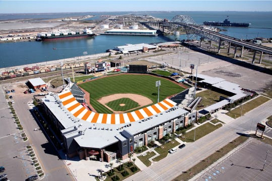 An artist rendering of the new orange and white stripe paint job that Whataburger Field will receive prior to opening day in 2019.