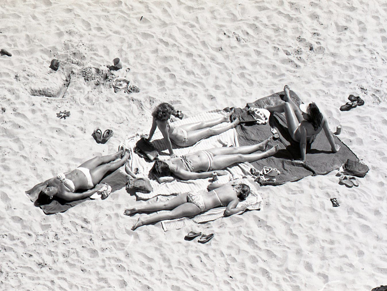 Soaking up the sun during spring break on Padre Island on March 18, 1978.