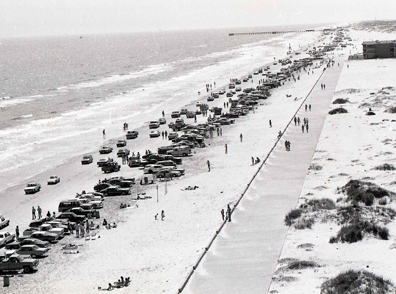 Crowds line the beach on Padre Island during spring break on March 18, 1978.