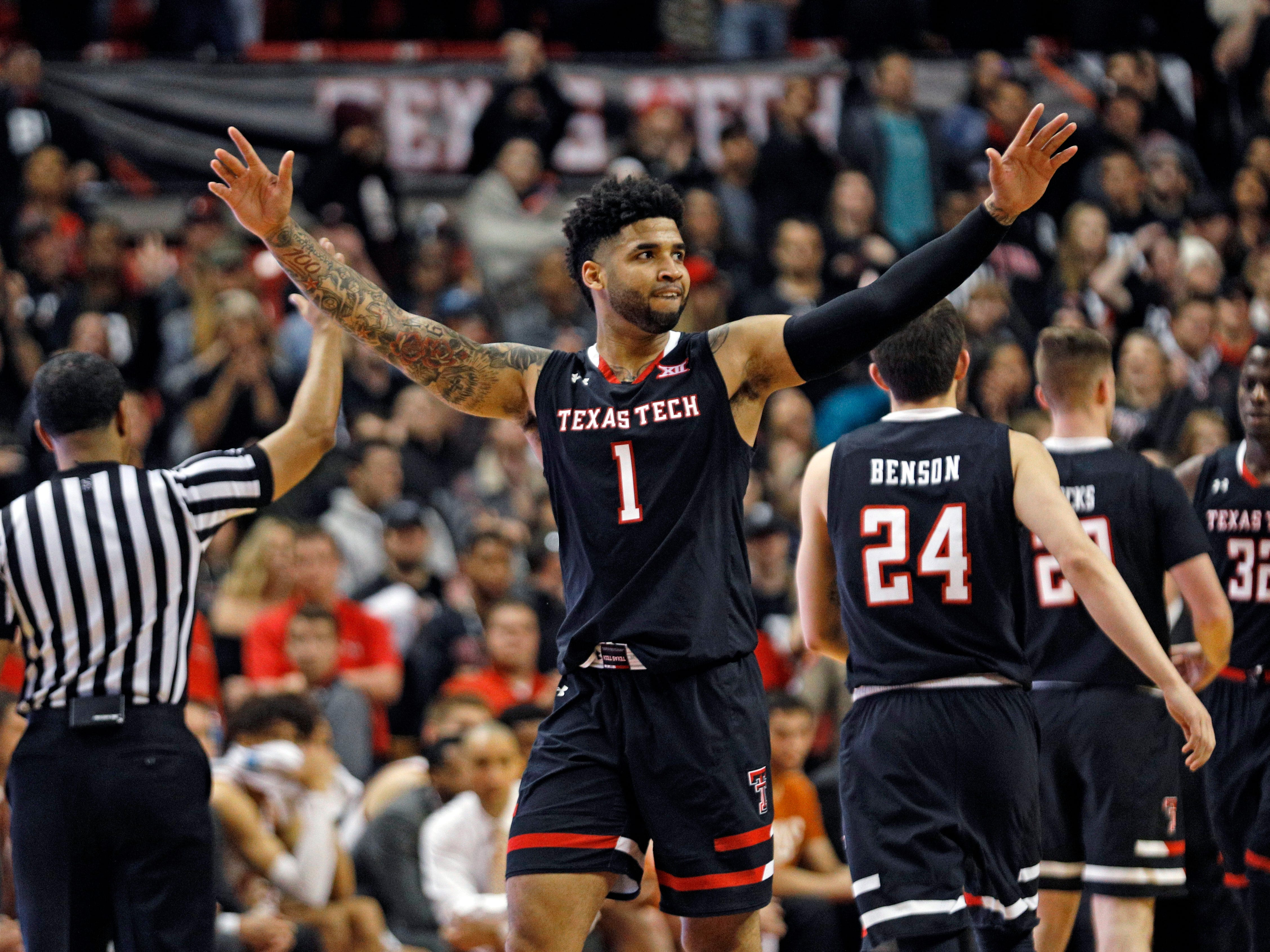 Texas Tech's Brandone Francis (1) celebrates while walking off the court during the second half of an NCAA college basketball game against Texas, Monday, March 4, 2019, in Lubbock, Texas. (AP Photo/Brad Tollefson)