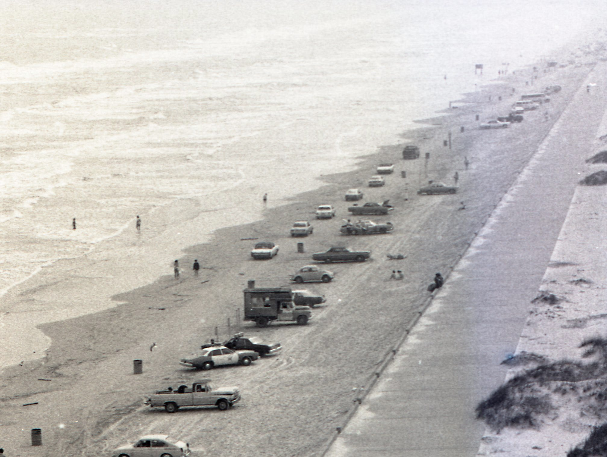 Crowds weren't heavy yet when this photo was taken on Padre Island during spring break on March 17, 1979.