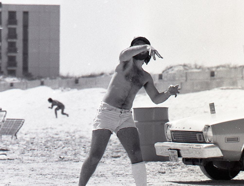 This spring breaker didn't let a leg cast stop his football fun on Padre Island on Marach 18, 1978.