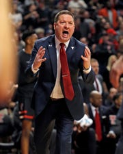 Texas Tech coach Chris Beard yells at his players during the first half of an NCAA college basketball game against Texas, Monday, March 4, 2019, in Lubbock, Texas. (AP Photo/Brad Tollefson)