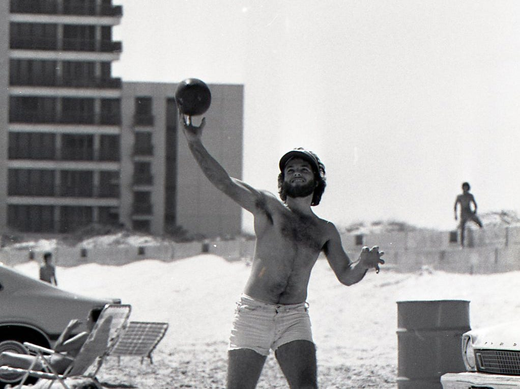 A spring breaker didn't let a cast stop his fun on Padre Island beaches on March 18, 1978.
