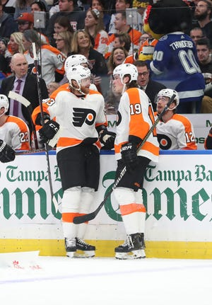 Jake Voracek, left, and Nolan Patrick, right, may both miss Wednesday's game against the Washington Capitals.