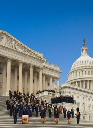 The U.S. Army Field Band performs on the steps of the U.S. Capitol.
