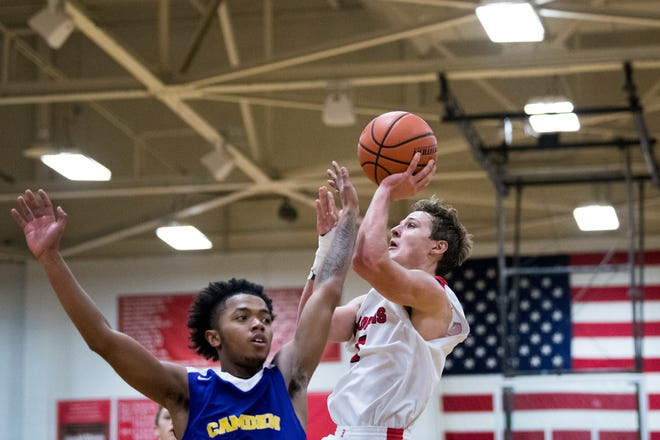 Haddonfield's Mike DePersia (3) takes a shot against Camden in the South Jersey Group 2 final Monday, March 4, 2019 at Cherry Hill East High School in Cherry Hill, N.J. Haddonfield won 69-67.