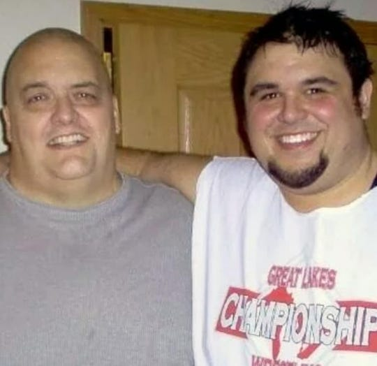 King Kong Bundy (left) with friend and promoter David Herro.