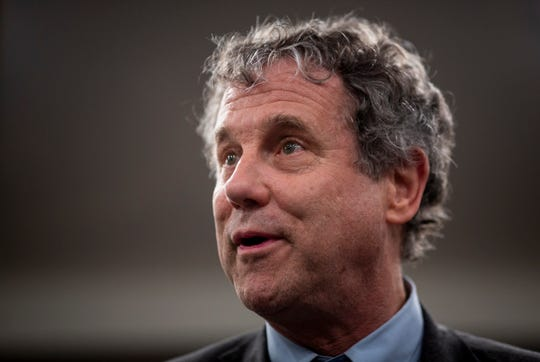 Sen. Sherrod Brown talks to a small group at the Hyatt Hotel in Florence, S.C. Friday, March 1, 2019.