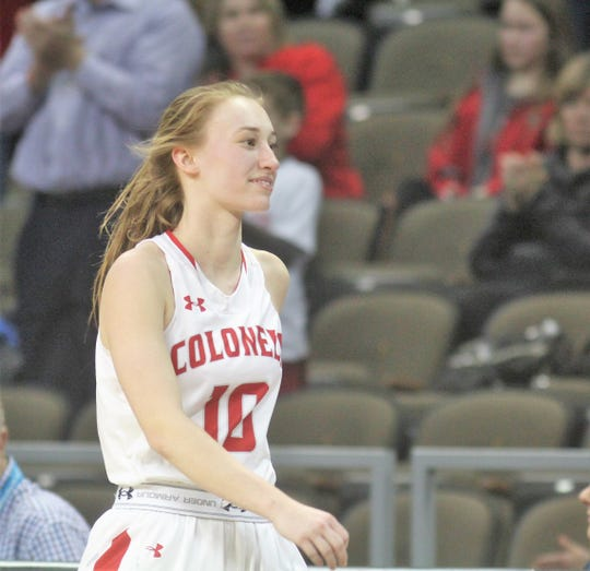 Dixie Heights senior Grace Perry walks off the court for the last time, 2019 9th Region final