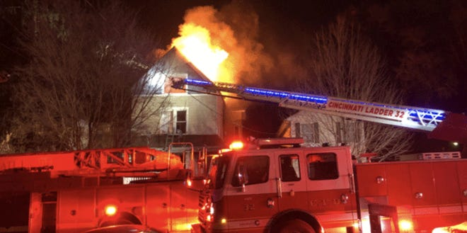 Ten people were displaced in a large, two-alarm fire that left $120,000 damage to a multi-family home early Tuesday, fire officials said.
