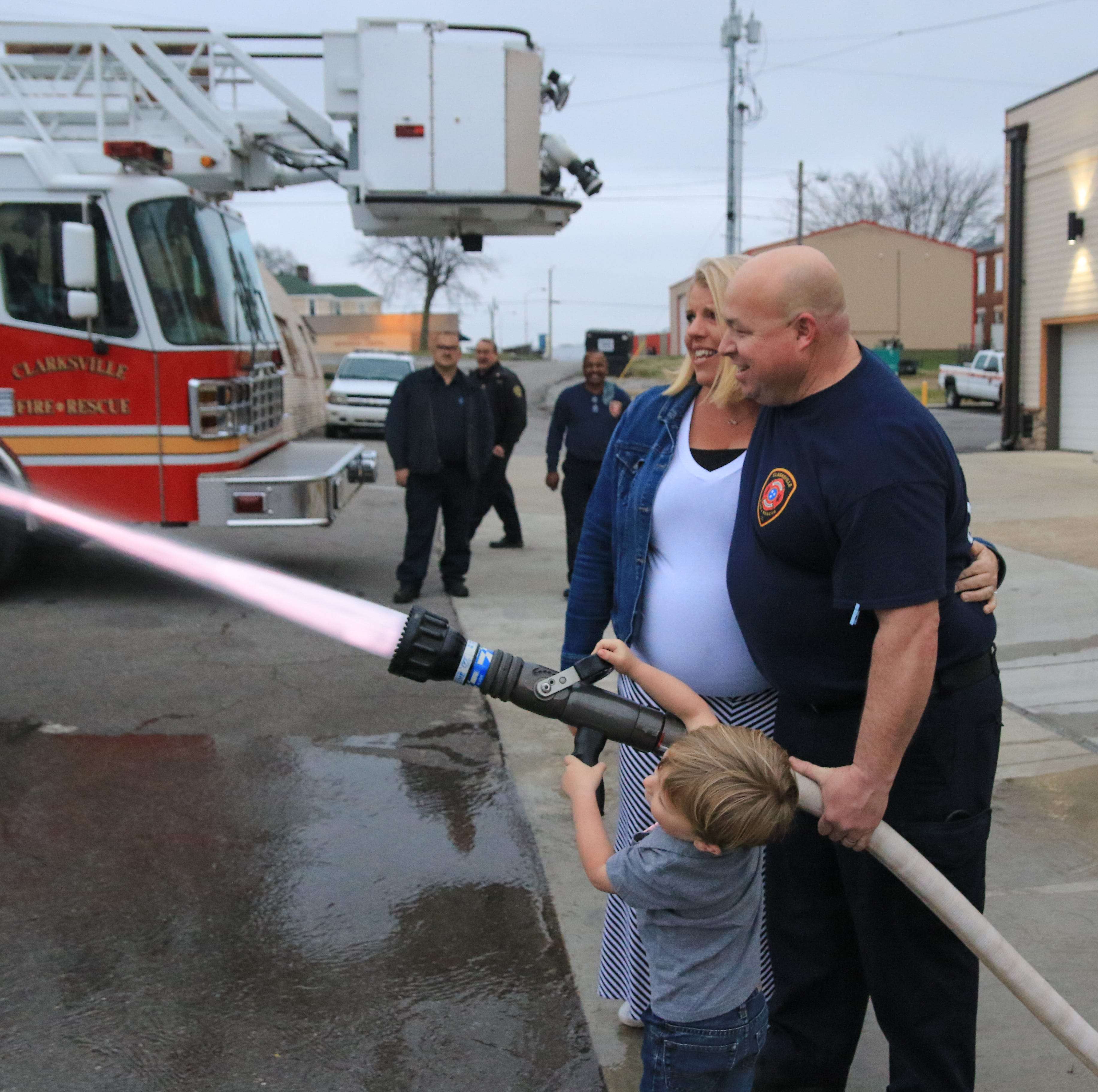 Gender reveal party: Fire hose water announces it's a girl — twin girls — for firefighter