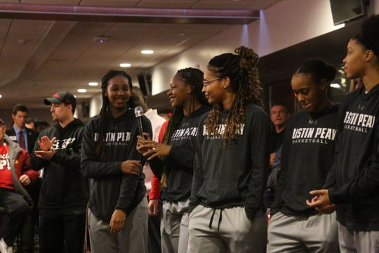Lady Govs players gather to thank fans and supporters during their team's OVC Tournament send-off Monday at Fortera Stadium. Austin Peay faces Tennessee Tech in the first round of the OVC Tournament Thursday.