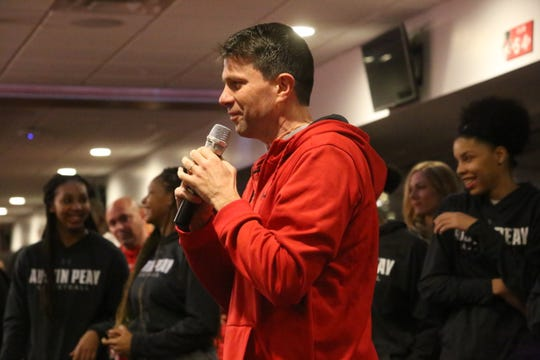 Austin Peay's women's coach David Midlick talks to fans and supporters during the Lady Govs' OVC Tournament send-off Monday night at Fortera Stadium. The Lady Govs open conference tournament play Thursday against Tennessee Tech.