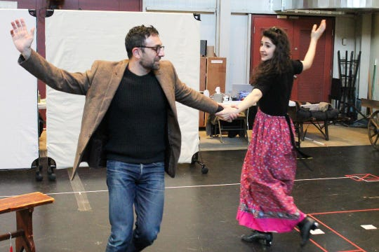 """Benjamin Pelteson and Lauriel Friedman rehearse """"The Immigrant,"""" which will run March 12 to April 7 at George Street Playhouse, New Brunswick."""