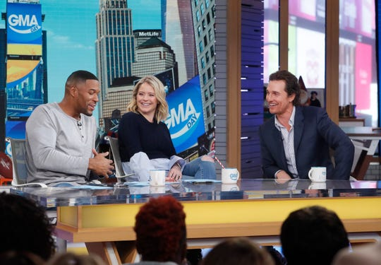 "Matthew McConaughey is a guest on ""Strahan and Sara,"" Thursday January 24, 2019. (ABC/Lou Rocco)"
