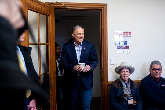 Washington Gov. Jay Inslee, who  announced his candidacy for president on March 1, arrives at an event on Iowa State University campus on Tuesday, March 5, 2019, in Ames, Iowa.