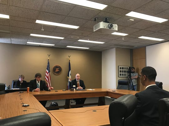 Officials for the Iowa Department of Education host a public hearing on Tuesday, March 5, 2019.