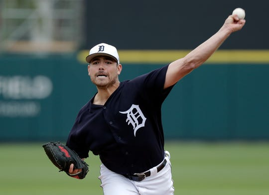 Tigers pitcher Matt Moore pitches against the Blue Jays in the first inning of a spring training baseball game on Tuesday, March 5, 2019, in Lakeland, Fla.