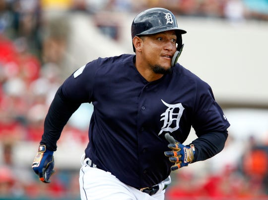 Detroit Tigers first baseman Miguel Cabrera runs to first against the St. Louis Cardinals during the third inning Monday, March 4, 2019, in Lakeland, Fla.