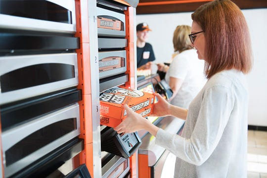 Little Caesars' Pizza Portal system of in-store lockers where customers can pick up their order without waiting in line.