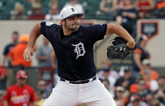 Detroit Tigers pitcher Michael Fulmer goes into his windup against the St. Louis Cardinals during the first inning Monday, March 4, 2019, in Lakeland, Fla.