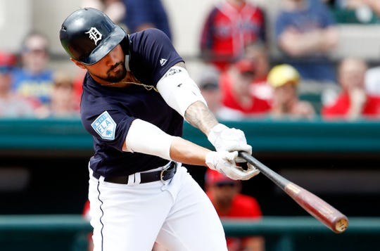 Detroit Tigers right fielder Nicholas Castellanos hits an RBI double during the third inning against the St. Louis Cardinals, March 4, 2019 in Lakeland, Fla.