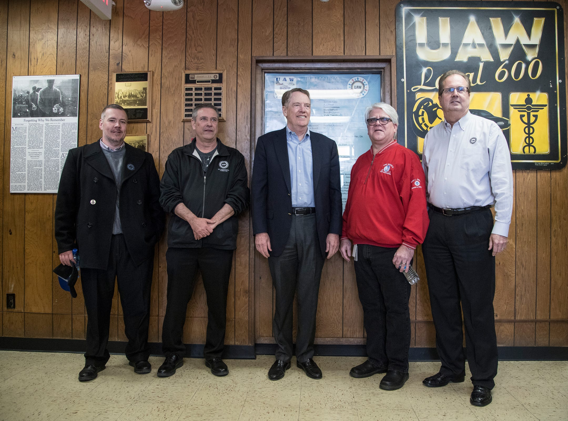 From left, Frank Stuglin, Region 1 director, Rich Ranking, Region 2b director, Chuck Browning, Region 1A director, Robert Lighthizer, United States trade representative, Bernie Ricke, UAW local 600 president, Gary Jones, UAW president, before the meeting at UAW Local 600 in Dearborn, Tuesday, March 5, 2019.