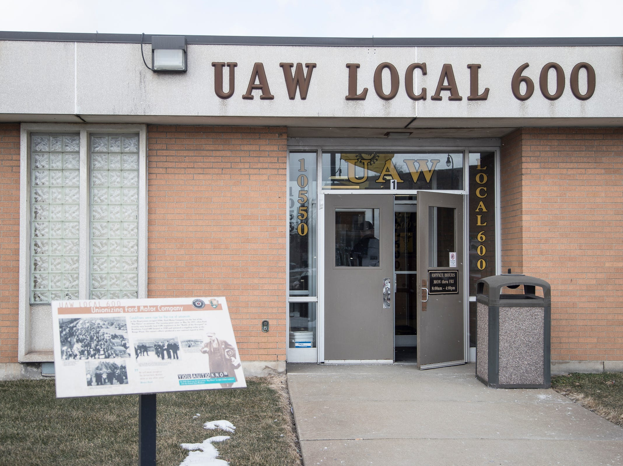 Front entrance of UAW Local 600 in Dearborn, Tuesday, March 5, 2019.