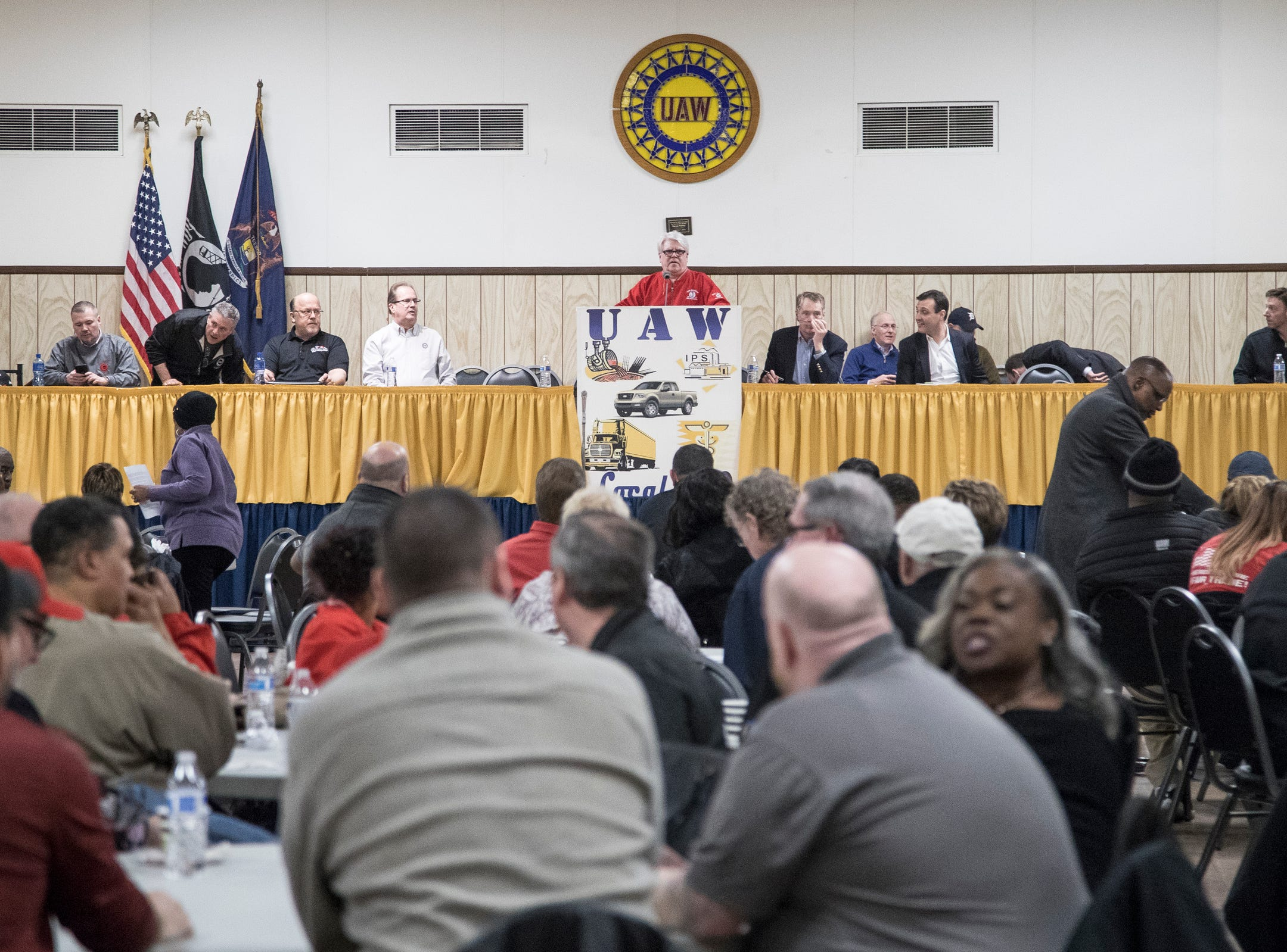 Bernie Ricke, UAW local 600 president, center, speaks before a member meeting with Robert LighthizerUnited States Trade Representative, at UAW Local 600 in Dearborn, Tuesday, March 5, 2019.
